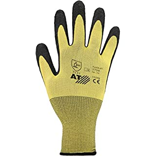 Asatex 3750 Handschuh mit Latex-Beschichtung Größe 10, Gelb/Schwarz