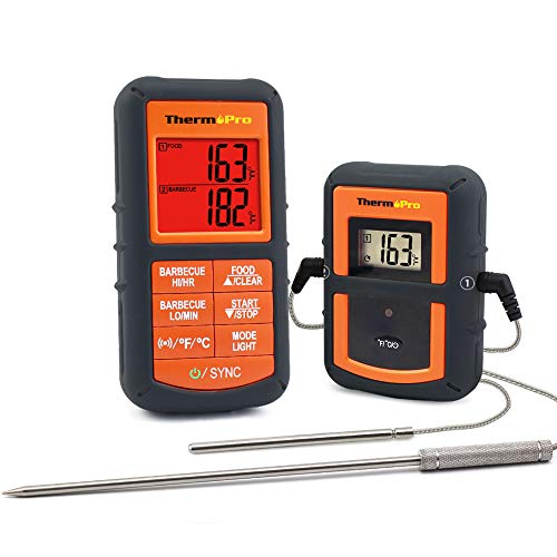 ThermoPro TP-08 Digital Wireless Remote Meat Thermometer, Barbecue Thermometer, Oven Thermometer - Dual Probe for Kitchen Cooking, BBQ Smoker Grill Oven - Monitors Food Temperature From 300 Feet Away, Batteries Included