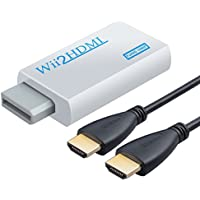 Neoteck 1080P Wii HDMI Converter Mini Wii to HDMI + 3.5mm Jack Converter with a 1m HDMI cable Support NTSC/PAL Format for Smart TV HDTV-White