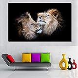 wanmeidp Zwei Löwenkopf schwarzer Hintergrund Porträt Wandkunst Gemälde grau Bild Leinwand Moderne Tierbild Dekoration 50x85cm