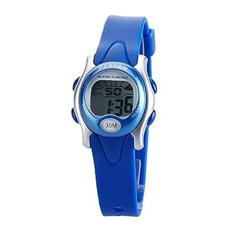 Pasnew Cute Digital Sport Waterproof Wrist Watch with Alarm Stopwatch for Kids Girls (Blue)