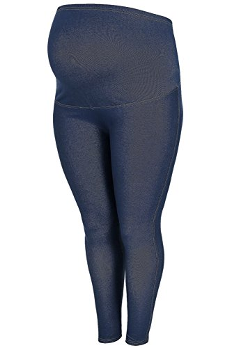 Yours Yoursclothing Plus Size Womens Bump It Up Maternity Indigo Jeggings With Comfort Panel