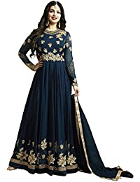 Kings Fashion Bazaar Women Georgette Blue Embroidered Semi Stitched Long Anarkali Suit (GATMPU10472_Blue_Free...