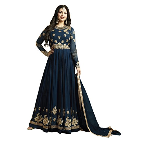 Aryan Fashion Women Georgette Blue Embroidered Semi Stitched Long Anarkali Suit (FA-WRTY10472_Blue_Free...