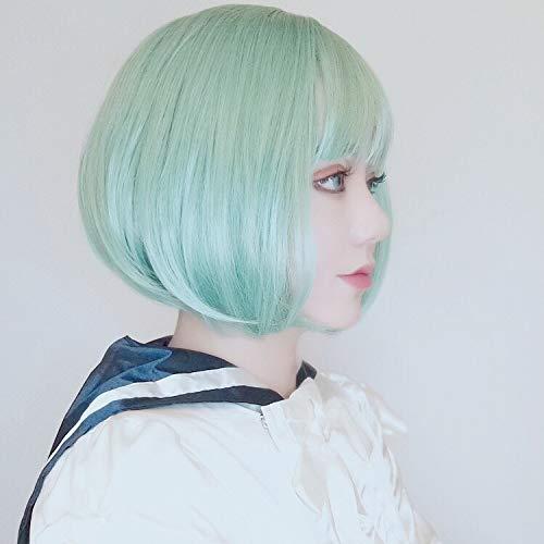 WIG MINE Deuxième élément de performance de scène cheveux raides courts perruque Harajuku gris clair vert poudre COS couverture de la tête entière