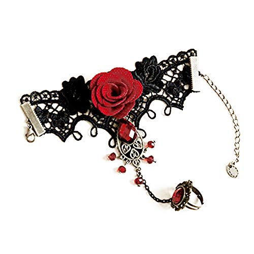 Trifycore pulsera hecha a mano retro de encaje negro esclavo del vampiro con tela de flores y pulsera de resina gótico rojo para las mujeres y las niñas