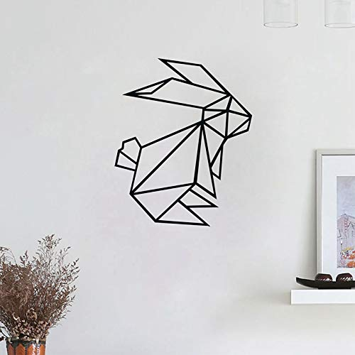 WWYJN Geometric Bunny Rabbit Vinyl Wall Stickers, Scandi Decal Stylish Animal Rabbit Wall Stickers Modern Home Decor White 56x45 cm
