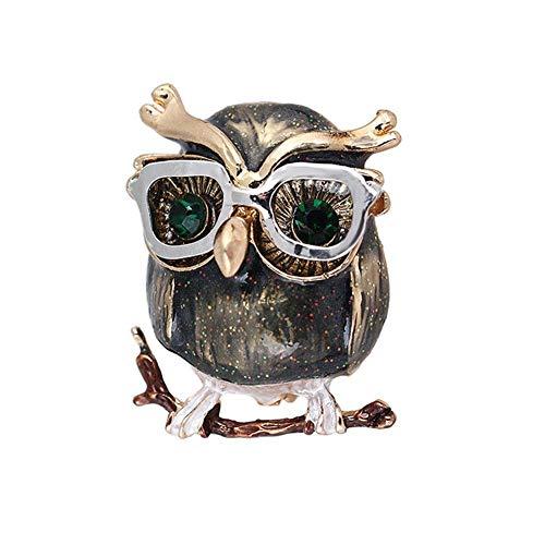 Aontean 1 Stück süße Eule Brosche Wasser Diamant Brosche Emaille Tropfen Öl Anzug Zubehör Frauen Brosche für den Alltag mit Dekoration für Mantel, Anzug, Umhang oder Schal 2,3 cm * 2,8 cm
