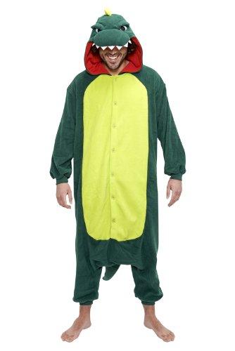 Canberries Damen Herren Jumpsuit Tier Onesie Einhorn Panda Pinguin Giraffe Pyjamas Jumpsuit Anime Cosplay Karneval Kostüm Schlafanzug Erwachsene (S, Dinosaurier)
