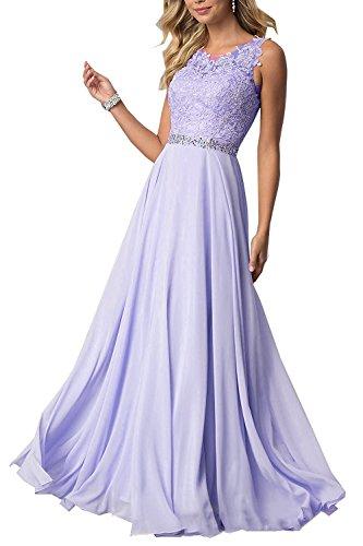 CLLA dress Damen Chiffon Spitze Abendkleider Elegant Brautkleid Lang Festkleid Ballkleider(Lavendel,42)