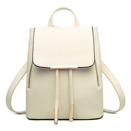 Rucksack Kolylong® 1Set 2 PCs Damen Vintage Rucksack PU Leder Elegant Schultasche für Mädchen Rucksackhandtaschen Umhängetasche Freizeit Daypacks Für Outdoor Sports Backpack (Beige-One) -