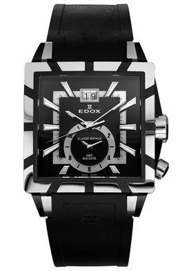 Edox Black Dial Black Rubber Mens Watch 62002-357N-NIN