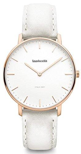 Lambretta Classico 36 - Reloj de pulsera para mujer, correa de piel blanca, esfera de oro rosa 2228GRA