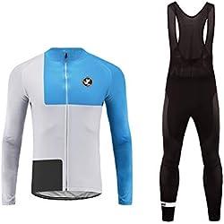 Uglyfrog Maillot de Ciclismo Ropa Ciclismo Conjunto para Hombre Culotte Manga Larga+ Pantalones Invierno Fleece Warm for Travel Wear