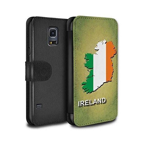Stuff4® PU-Leder Hülle/Case/Tasche/Cover für Samsung Galaxy S5/SV/Irland/Irisch Muster/Flagge Land Kollektion Flagge Cover
