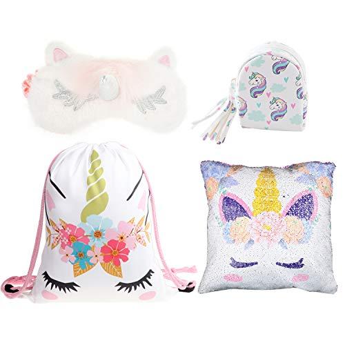 DRESHOW Zaino con un cordoncino per unicorno/Borsa per make-up/Collana / Catena chiave/Set regalo per bracciale per ragazze