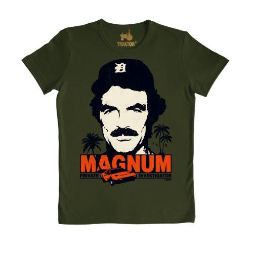 T-shirt Slim Fit Magnum - maglia Slim Fit Magnum, P.I. - Il investigatore - Cult del film - maglietta girocollo - verde scuro - t-shirt originale della marca TRAKTOR®, taglia M