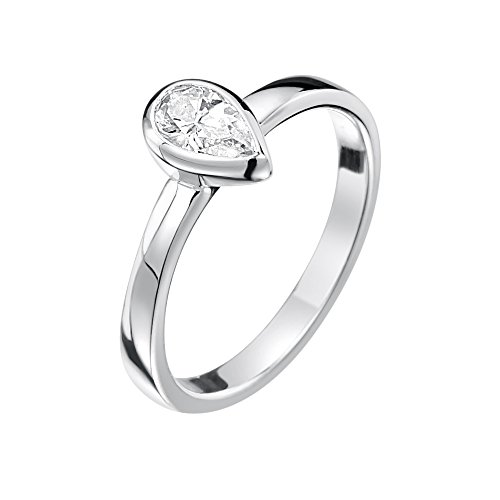 Jo for Girls – Anello con goccia di zirconia cubica, in argento Sterling, argento, 49 (15.6), colore: Clear, cod. JR127cz-J