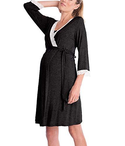 SEMIR Umstandsnachthemd/Still-Nachthemd für Schwangere Nachthemd-Nachtwäsche zum Stillen Schwarz XL