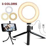 Rarazu 6'' Anillo de Luz LED con Soporte para Trípode y Soporte para Teléfono, Luz Anillo Regulable con 3 Modos de Luz y 5 Niveles de Brillo, Ring Light para Maquillaje, Movil, Selfie, Belleza