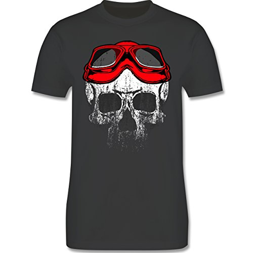 Biker - Roter Motorradhelm Totenkopf - L - Dunkelgrau - L190 - Das Beste Männer Shirt von #RedSkullBikerFashion (Suzuki T-shirts Motorrad)