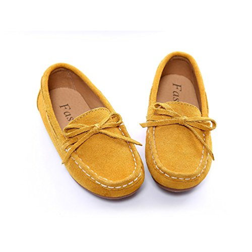 YiJee Enfants Bout Rond Respirant Mocassins Bowknot Plat Chaussures Jaune