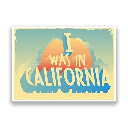 Preisvergleich Produktbild 2x I wurde in Kalifornien Vintage Vinyl Aufkleber Reise Gepäck # 7286 - 25cm/250mm Wide