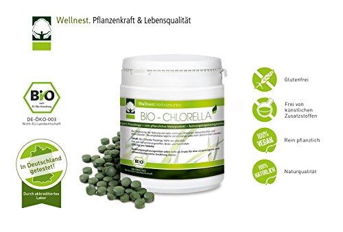Wellnest Bio Chlorella 500 g | Detox Superfood vegan | Algen reich an Mineralstoffen, Vitaminen und Spurenelementen | 2.500 Presslinge á 200 mg | Rückstandsgeprüft in deutschem Labor