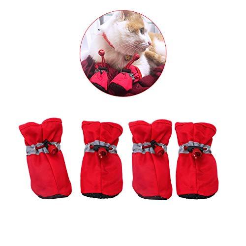 YAODHAOD Hundestiefel Pfotenschutz, Anti-Rutsch-Hundeschuhe Diese bequemen, weichen Sohle sind mit reflektierenden Riemen für kleine Hunde (4, Rot)