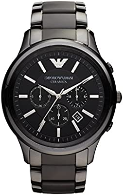 Emporio Armani AR1451 - Reloj cronógrafo de cuarzo para hombre, correa de cerámica color negro