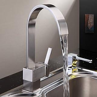 AiMi- zeitgenössische Messing Küchenarmatur - Nickel gebürstet