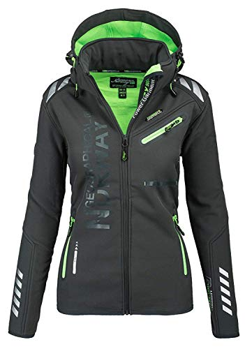 Geographical Norway Damen Softshell Funktions Outdoor Regen Jacke Sport [GeNo-24-Dunkelgrau-Gr.XL]