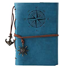 Idea Regalo - Maleden, diario di viaggio in pelle ad anelli, motivo bussola e ciondolo sul retro Sky Blue