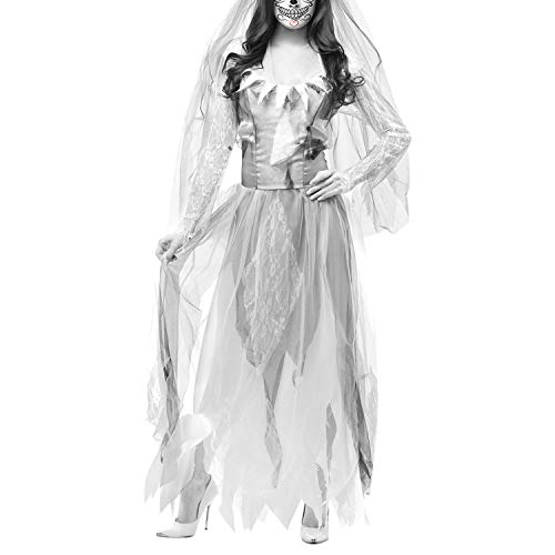 Jolisson Damen Fasching Karneval Verkleidung Kostüm Zombie Braut Bride Dress Schleier Lang Unregelmäßiges Kleid Schmutzig Vampir Cosplay Damenkostüm