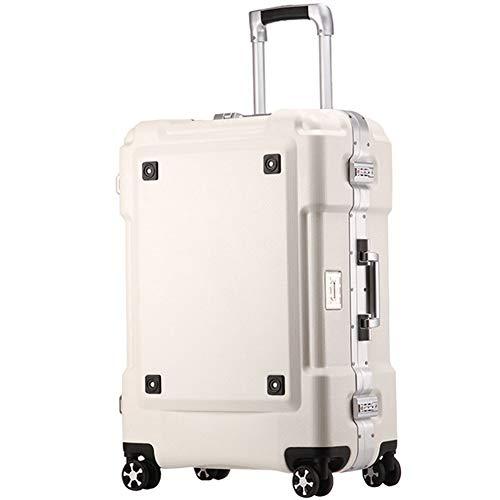 AIURBAG Plástico ABS Marco De Aleación De Aluminio Equipaje De Viaje,Travel Spinner Maleta con Mango Telescópico Y 4 Ruedas,White