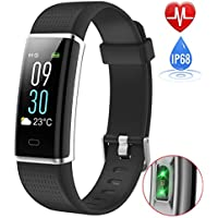 Fitness Tracker with Heart Rate Monitor, iPosible Colour Screen Activity Tracker Fitness Watch Waterproof IP68 Smart Bracelet Sleep Monitor Pedometer Watch Step Counter Call SNS Vibration for Women Men Kids Compatible with iPhone Android Phone (24-Month Warranty) -Black