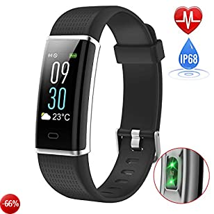 Fitness Tracker Contapassi,iPosible Orologio Fitness Impermeabile IP68 Braccialetto Fitness Cardiofrequenzimetro da Polso Activity Tracker Pedometro Smartwatch GPS Smart Band Calorie per Donna Uomo Bambini per iPhone Android iOS Smartphone(14 Modalità Sp