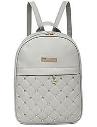 Rrimin New Fashion Women PU Leather Backpack Casual Bead Travel School Backpack