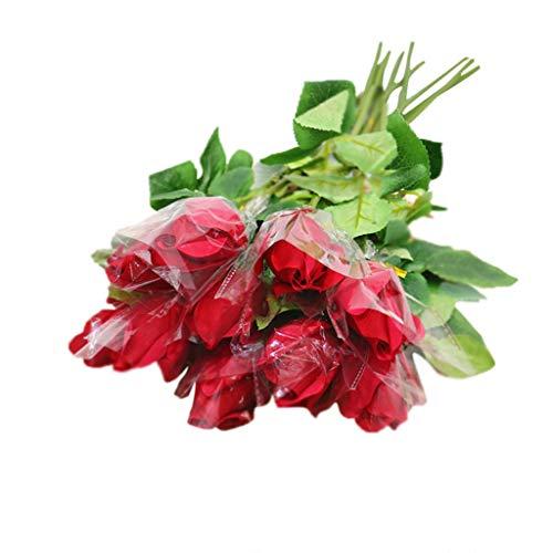 Wohnaccessoires & Deko Kunstblumen Künstliche Curl-Hand fühlen Rose Knospen Gefälschte Blume Einzweiger Liebhaber Rose Haus Hochzeit Wohnzimmer Simulation Blumenschmuck