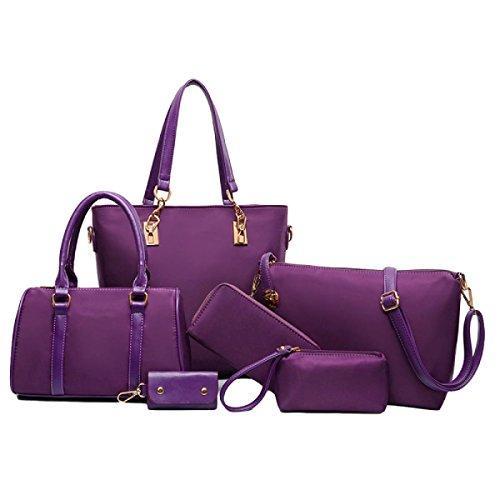 Handtaschen Europäischen Und Amerikanischen Stil Nylon Mutter Tasche Sechs Sätze Von Multifunktionalen Schulter Schrägen Kreuz Paket Wild,Purple-OneSize -