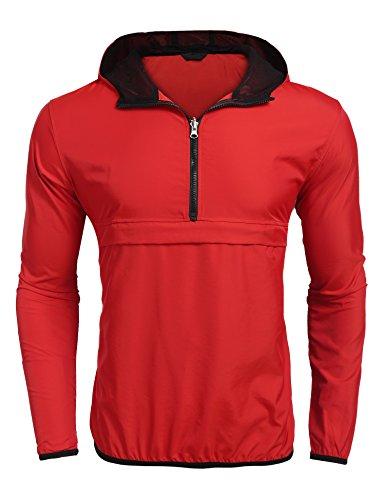 Burlady Herren Regen Jacke Windbreaker mit Kapuze Wasserdicht Atmungsaktiv Winddicht Outdoor Freizeit Rot