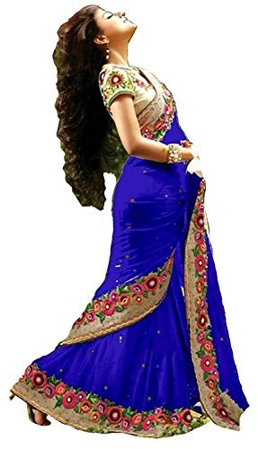 Reeva Trendz Georgette Saree With Blouse Piece (Rt5001_Blue_Free Size)