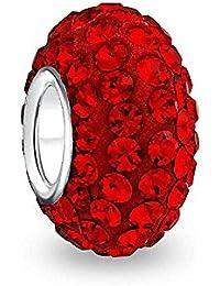 Bling Jewelry Silber Shamballa Inspiriert Red Swarovski Kristall Bead
