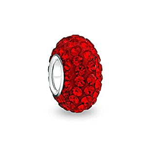 Bling Jewelry Rot Weihnachten Urlaub Kristall Distanzstück Wulstkern Bead Sterling Silber Passt Charm Armbänd Für Damen Jugendlich