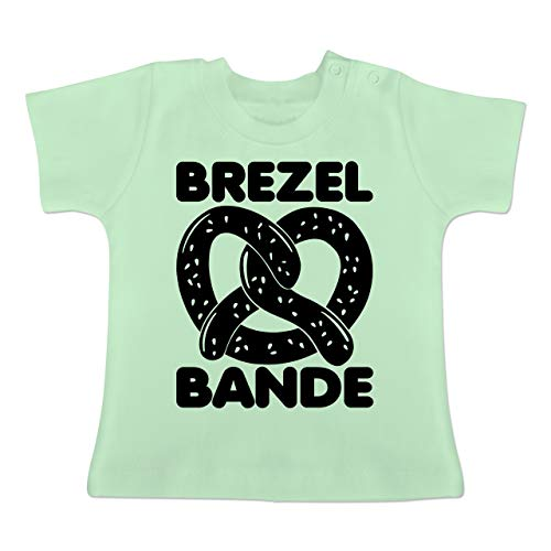 Link Kostüm Bit 8 - Oktoberfest Baby - Brezel Bande - schwarz - 18-24 Monate - Mintgrün - BZ02 - Baby T-Shirt Kurzarm