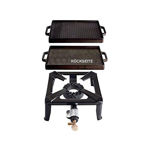 Paella World International Gaskocher Hockerkocher-Set mit Gusseisengrillplatte, Mehrfarbig, 2-teilig