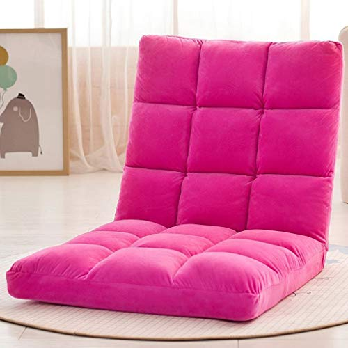 MKJYDM Schwarzer Bodenstuhl mit Verstellbarer Rückenlehne, niedriger Klappstuhl, ideal als verdickter TV-Bodenstuhl, Bodenspielstuhl, Meditationsstuhl und Lesesessel faules Sofa (Color : Pink) -