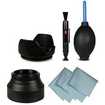 55mm Pack de accesorios para Canon EOS 1100D | 550D | 600D - Sony Alpha 100 | 200 | 230 | 290 | 330 | 350 | 380 | 390 | 450 | 500 | 550 | 580 | 700 - Alpha 7 - Sony Alpha SLT-33 | SLT-35 | SLT-37 | SLT-55V | SLT-57 | SLT-58 | SLT-65V | SLT-77V y mucho más… incl. 2x Parasol de objetivo y 4en1 Kit de limpieza