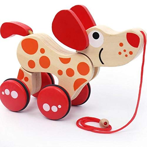 BRZM Partyrequisiten Holz Push und Pull Spielzeug Kleinkind Lernspielzeug Hund Traktor Frühen Kindheit Spiele Lernspielzeug -