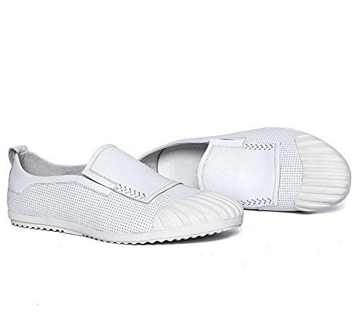 XFJ Uomo Pelle Tempo Libero Piatto Allenatore Bianca Nero Taglia 37-44 white